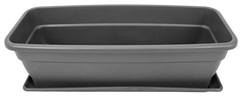 Pamex - Maceta Jardinera Plástico 'EVA' con Plato 50cm Gris