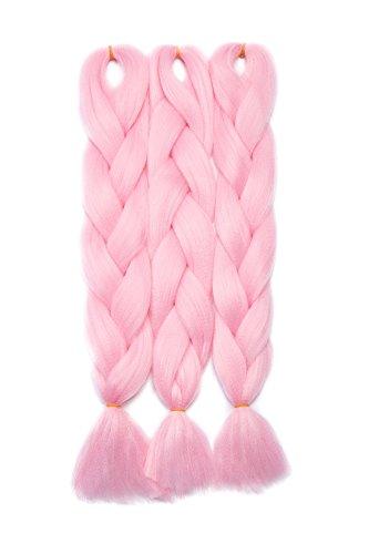 Haarverlängerung 60cm Crochet Braids Two Tone Ombre Braiding Haar Synthetik Braid 3 Pcs /300g - HellrosaHell-Pink
