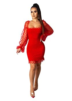 Semi Formal Dresses for Women Mesh Puff Long Sleeve Polka Dots Bodycon Short Dress Patchwork Square Collar Club Wear  Red X-Large