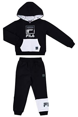 Fila Boys Two Piece Fleece Pant Sets with Hooded Sweatshirt Kids 2-7 Clothes (Black Combo, 2T)