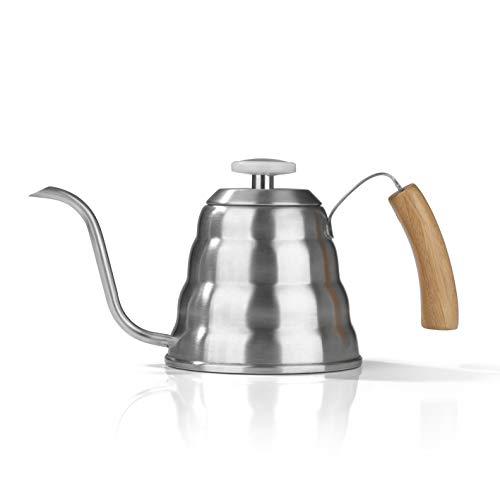BEEM Pour Over Wasserkessel mit Thermometer - 1,2 l | Edelstahl | Bambusgriff | Schwanenhals | 9 Tassen Filterkaffee oder Tee brühen