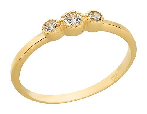 Ardeo Aurum Damenring aus 333 Gold Gelbgold mit Zirkonia im Brillant-Schliff Antragsring Verlobungsring