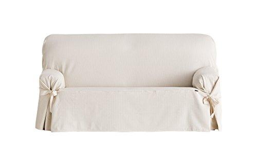 Eysa Bianca nicht elastisch mit krawatten sofa überwurf 3 sitzer, Baumwolle, 00-ecru 230 x 180 x 70 cm,, 1 Einheiten