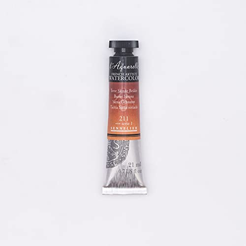 Sennelier French Artists Watercolor, 21ml, Burnt Sienna S1