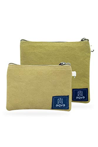 AQVA 14 Oz Washed Cotton Canvas Multipurpose Cosmetic Organizer Bag With Zipper - Washable, Reusable Travel Toiletry Pouch, DIY Craft Bag - Perfect for Stationary, Outdoor Activity(Pack of 2)
