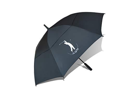 Love Golf Days Golf-Regenschirm, automatisch, offen, doppelt, belüftet, wasserdicht, winddicht, UV-Schutz, Größe XL, Schwarz
