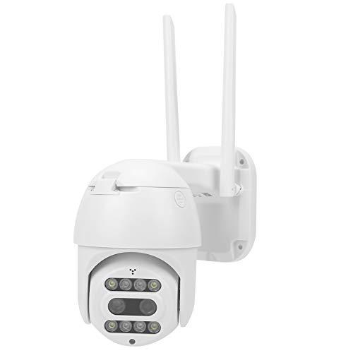 FILFEEL Cámara WiFi 1080P, 8 Luces, detección de Movimiento de Doble Lente, visión Nocturna a Todo Color, IP66, CCTV a Prueba de Agua, Control Remoto con una tecla(EU Plug)