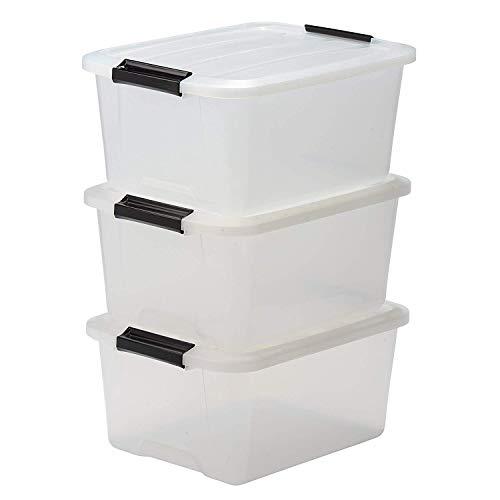 Iris Ohyama Top Box TB-15 Lote de 3 Cajas apilables de Almacenamiento con Cierre de Clip, Plastico, 15 L, 39 x 29 x 18.6 cm, 3 Unidades