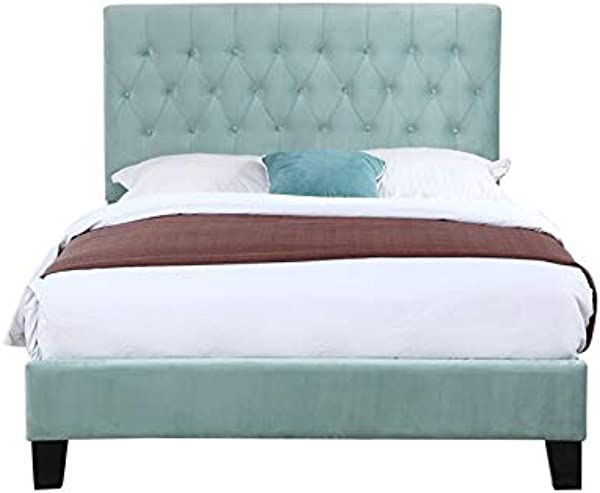Pemberly Row Bailey Light Blue Tufted Full Platform Panel Bed