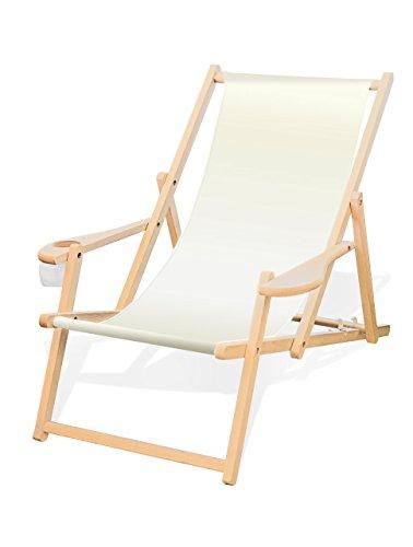 Holz-Liegestuhl mit Armlehne und Getränkehalter, Klappbar, Wechselbezug (Weiß)