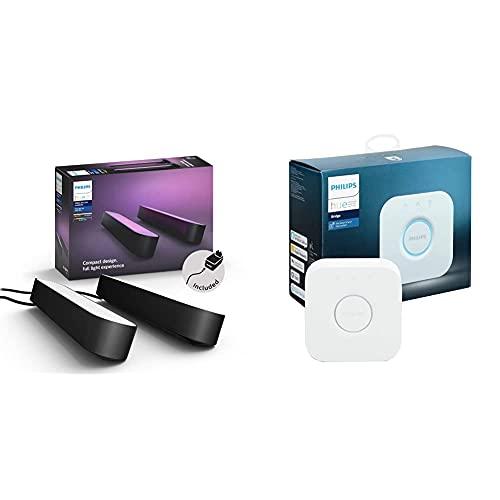 Philips Hue White & Color Ambiance Play - Noir X2 6,6 W + Pont de connexion - Compatible avec Alexa