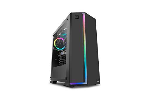 Nox Infinity Neon -NXINFTYNEON- Caja para ordenador, tira frontal ARGB rainbow, panel lateral templado,ventilador 120 mm ARGB pre-instalado, USB 3.0, color negro