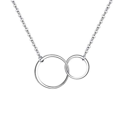 EVER FAITH Double Circles Necklace Sterling Silver Infinity Interlocking Friendship Sister Mother Daughter Necklace