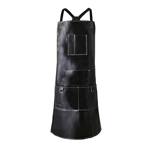 QeeLink - Delantal de Piel para Cocina, Barbacoa y Parrilla con 6 Bolsillos, Color Negro