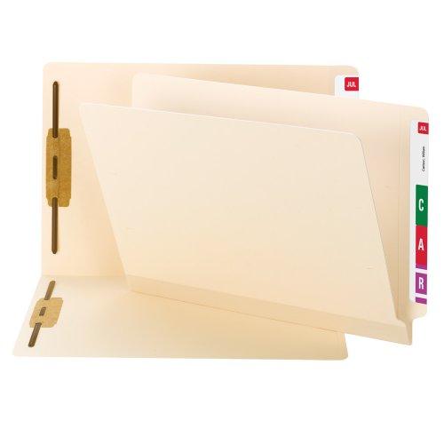 Smead TUFF Laminated End Tab Fastener File Folder, Shelf-Master Reinforced Straight-Cut Tab, 2 Fasteners, Letter Size, Manila, 50 per Box (34105)