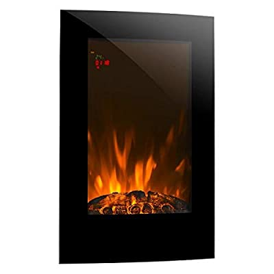 Klarstein Lausanne Vertical - Electric Wall-Mounted Fireplace, V2, 1000 or 2000 W, Electric Fan Heater, Flame Illusion, Flame Effect, Dimmer Function, Space-Saving Wall Installation, Black