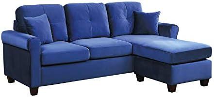 Best Lexicon 83-Inch Velvet Reversible Sofa Chaise, Blue