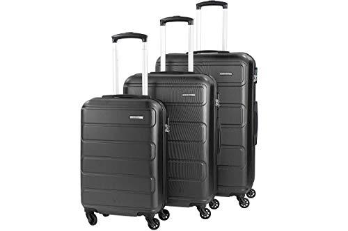 NOWI Kairo ABS Trolleyset Kofferset 3 Stück 55cm 65cm 75cm Reisekoffer Bordgepäck Handgepäck Gepäck Zahlenschloss 4 Doppelrollen (Schwarz, Set (3. TLG.))