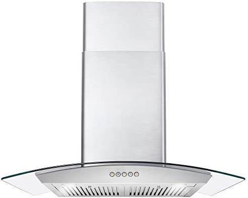 Cosmo 668A750 30 in Wall Mount Range Hood 380 CFM Ducted Ductless Convertible Duct Glass Chimney product image