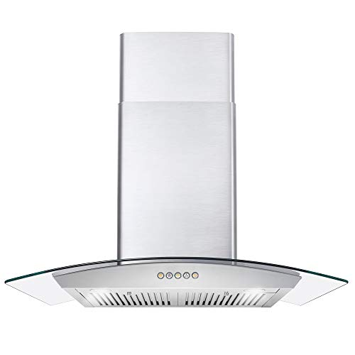 Cosmo 668A750 30-in Wall-Mount Range Hood 380-CFM | Ducted / Ductless Convertible Duct , Glass Chimney Kitchen Stove Vent with LED Light , 3 Speed Exhaust Fan , Permanent Filter ( Stainless Steel )