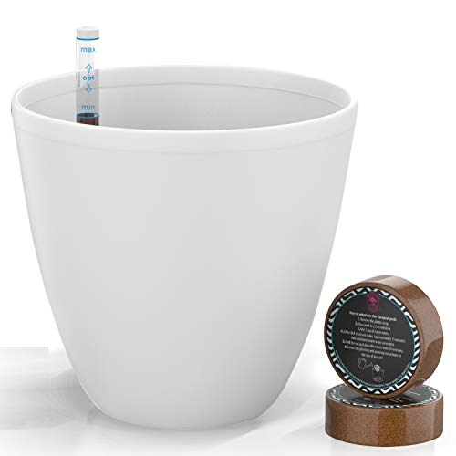 7'' Self Watering Planters for Indoor Plants - Flower Pot with Water Level Indicator for Plants, Grow Tracking Tool - Self Watering Planter Plant Pot-Coco Coir - White Round 1 Pack