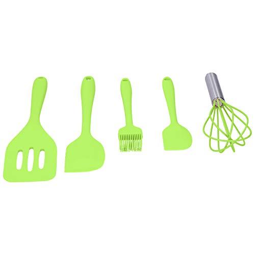 Batidor de Huevos, espátula de Silicona, utensilio de Cocina de Silicona, hogar Antiadherente derrite para cocinar,(Green Five-Piece Suit)