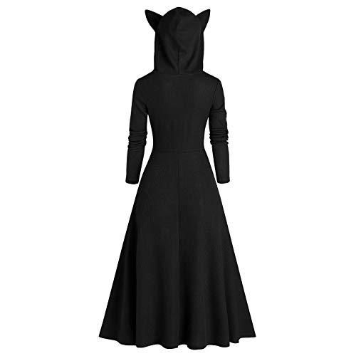 Xmiral Katzenohr Hoodie für Damen Kapuzenpullover Tops Lange Hinterer Saum Einfarbig Niedlicher Pullover Gotisches Kleid(a-Schwarz,3XL)