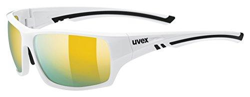 uvex Unisex– Erwachsene, sportstyle 222 pola Sportbrille, polarisiert, white/yellow, one size