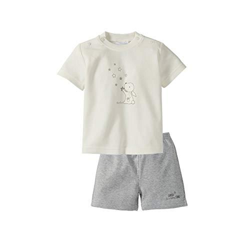 Bornino Basics Schlafanzug kurz Hase - Baby-Pyjama aus Reiner Baumwolle mit Hasen-Print, Rundhalsausschnitt & Druckknöpfen - wollweiß/grau Melange