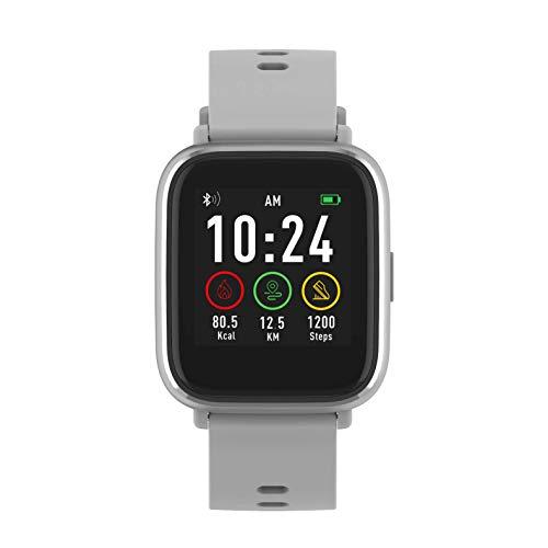 Denver Reloj Inteligente SW-161GREY Bluetooth. Monitor Actividad Deportiva. Sensor de frecuencia cardíaca. Impermeable. Muestra notificaciones Desde el móvil. Compatible iOS y Android.