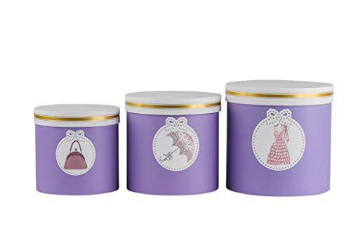 3er Set runde Blumenboxen mit Kordel, Aufbewahrungsbox mit Deckel, unifarbene Hutschachtel, Geschenkboxen, personalisierbar (Lila 3er Set)