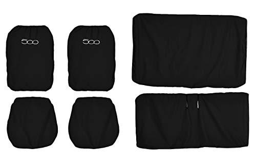 Lupex Shop FIAT 500 einfarbige Sitzbezüge, Schwarz