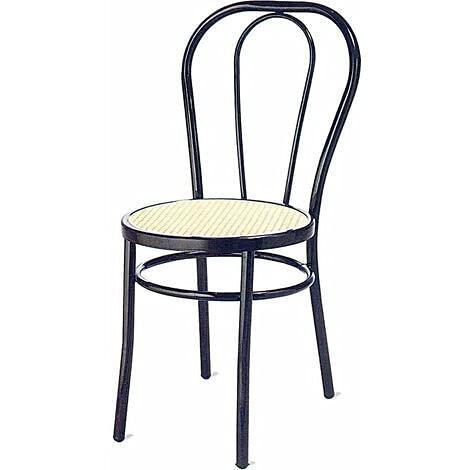 Sedia Modello Vienna Ristorante Struttura in Metallo Seduta Finta Paglia, Come da Foto, Confezione da 2 pz.