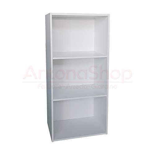AntonaShop Libreria Colorata Componibile Modulare Legno MDF Laminato Mobile Scaffale (Bianco)