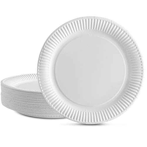 Plasticpro Disposable White Uncoated Everyday Paper Plates 9'' Inch Pack of 100
