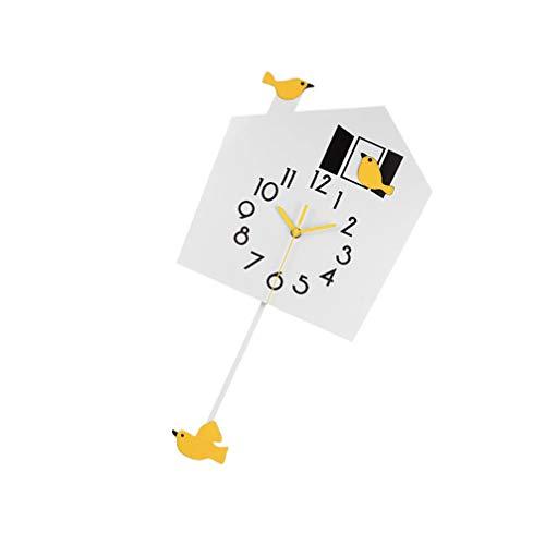 BESPORTBLE Swinging Wall Clock Cartoon Bird Wall Clock Swinging Pendulum Clock Wall Hanging Watch Kid Room Decoration for Child Room Bedroom Kitchen Home Decor