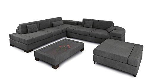 Bullhoff by Giovanni Capellini Sofa Couch Stoff Wohnlandschaft oder auch Sofagarnitur 3-Sitzer + Daybed + XL Hocker Couchgarnitur MÜNCHEN
