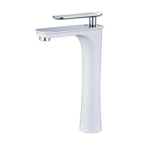 Leekayer Rubinetti per lavandini bagno Bianco Pittura cromata Monocomando per Lavabo beccuccio rubinetto lavabo alto
