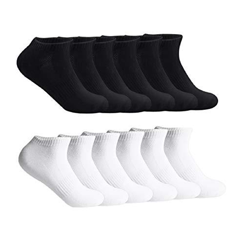 Lowbangge 12 Paar Sneaker Socken Herren Kurzsocken Unisex-Sportsocken Weich Baumwollsocken Damen Socken für Sport und Freizeit,6 x Schwarz + 6 x Weiß,43-46