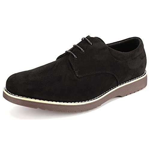 [KIXSTAR] カジュアルシューズ メンズおしゃれ オックスフォードシューズ 軽量 軽い レースアップシューズ スニーカー 靴 (ブラック,27.0 cm)