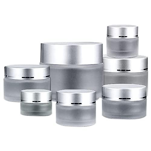 7 Piezas Tarro de Crema vacío, 5-100ml Tarros de Cristal con Tapa Interior Vacía Crema,...
