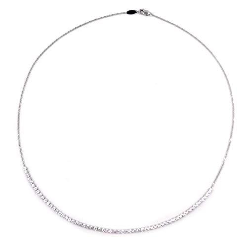 Gioielli Aurum - Collana tennis in oro bianco 14 kt. da donna girocollo con zirconi brillanti