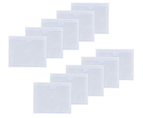nuosen 10 Pièces Pochettes Adhésive Transparente, Étuis pour Vignettes Pochettes pour Permis de Stationnement, Carte de Visite, Permis de Conduire, Affichette, Billets (10 * 8cm)