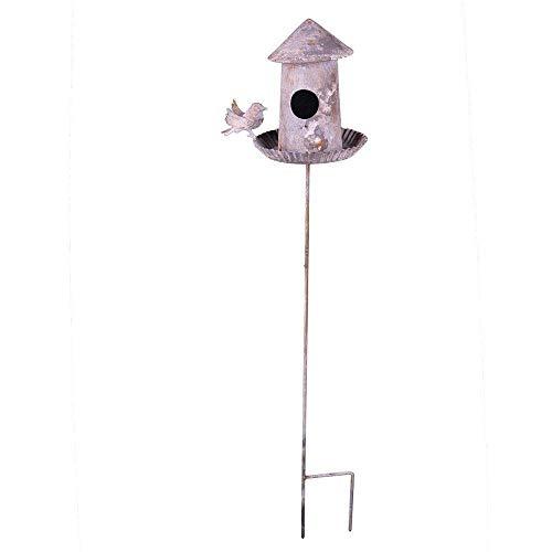 linoows Vogeltränke, Vogelbad, Retro Vogelhaus zum stecken aus verwittertem Eisen