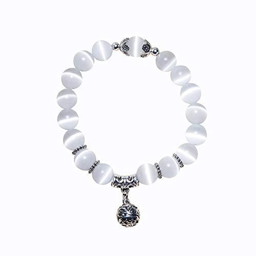 FASHLOVE 2pcs Natural Cat Eye Stone Bracelet, Retro National Beaded Wind Chain, Chain Length About 18 cm, White