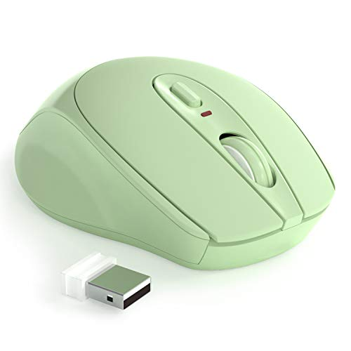 Wireless Mouse, 2.4G Noiseless Mouse,Ergonomic Wireless Optical Mouse with USB Receiver for Laptop,PC,Computer,Notebook,The Product Contains Batteries (Green)