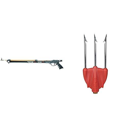 SEAC Sting, Fucile Subacqueo Arbalete da Pesca con Testata, Nero, 75 cm & Killer, Fiocina a 3 Punte Leggere in Acciaio ad Alta Resistenza Unisex Adulto, Rosso, Standard