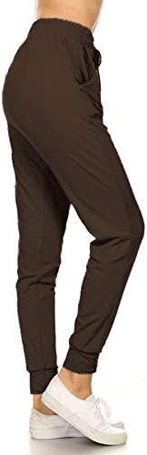 Leggings Depot JGA128 BROWN SMALL Solid Jogger Track Pants w Pockets Small product image