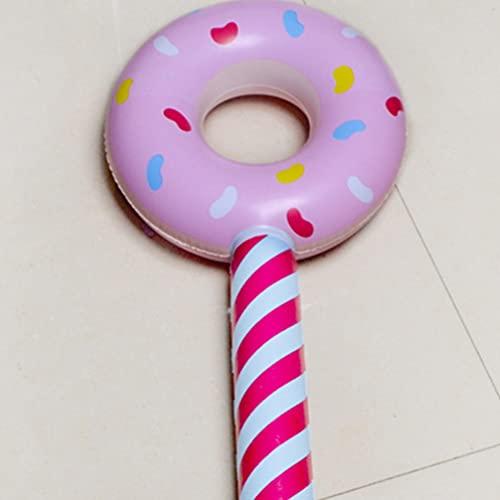 TomaiBaby Palo Inflable Forma de Donut Piruleta Bam Bam Thunders Sticks Porristas Palmas Equipo para La Decoración de La Fiesta de Cumpleaños 12 Piezas