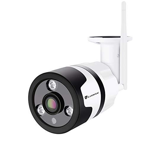 Luowice cámara de vigilancia WiFi para Exteriores 1080p, Gran angular HD Cámara de seguridad inalámbrica Impermeable con visión Nocturna detección de Movimiento Compatible con tarjeta Micro SD